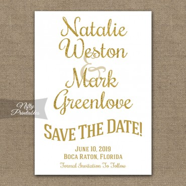 White Glitter Gold SaveDate