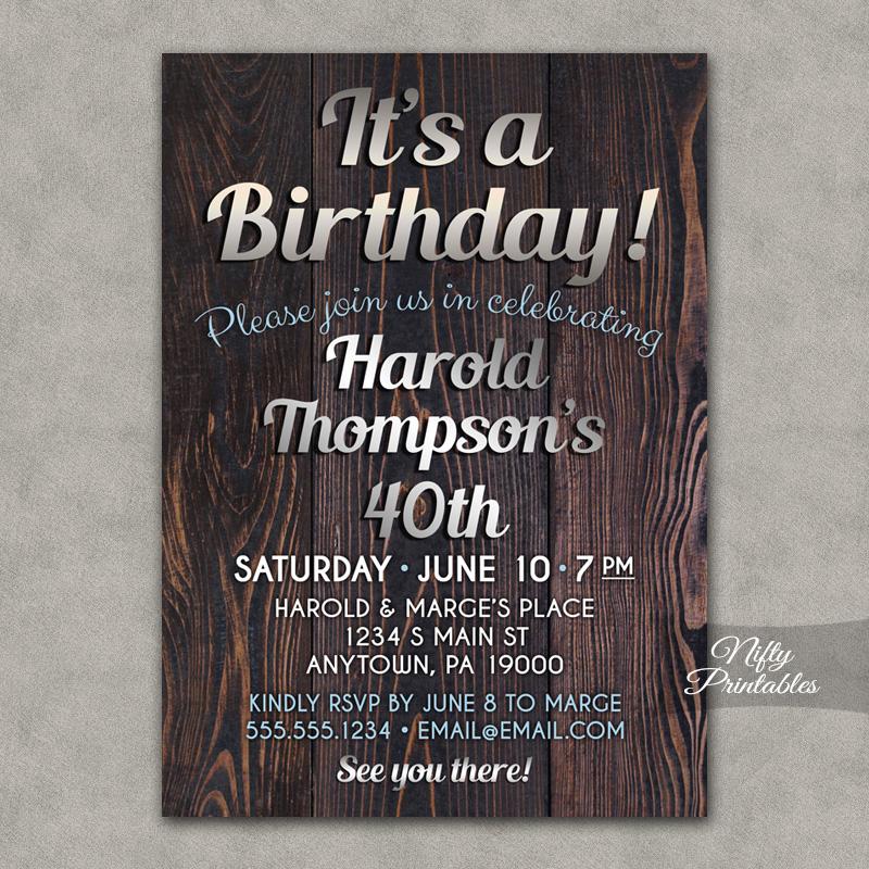 Wood Silver Birthday Invitations