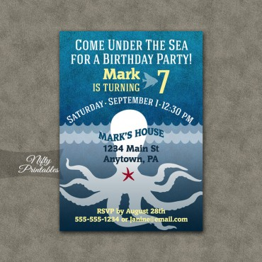 Blue Aquarium Octopus Birthday Invitations