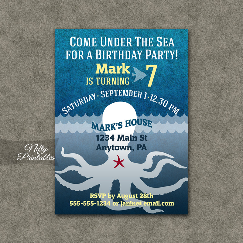 Blue Aquarium Octopus Birthday Invitations