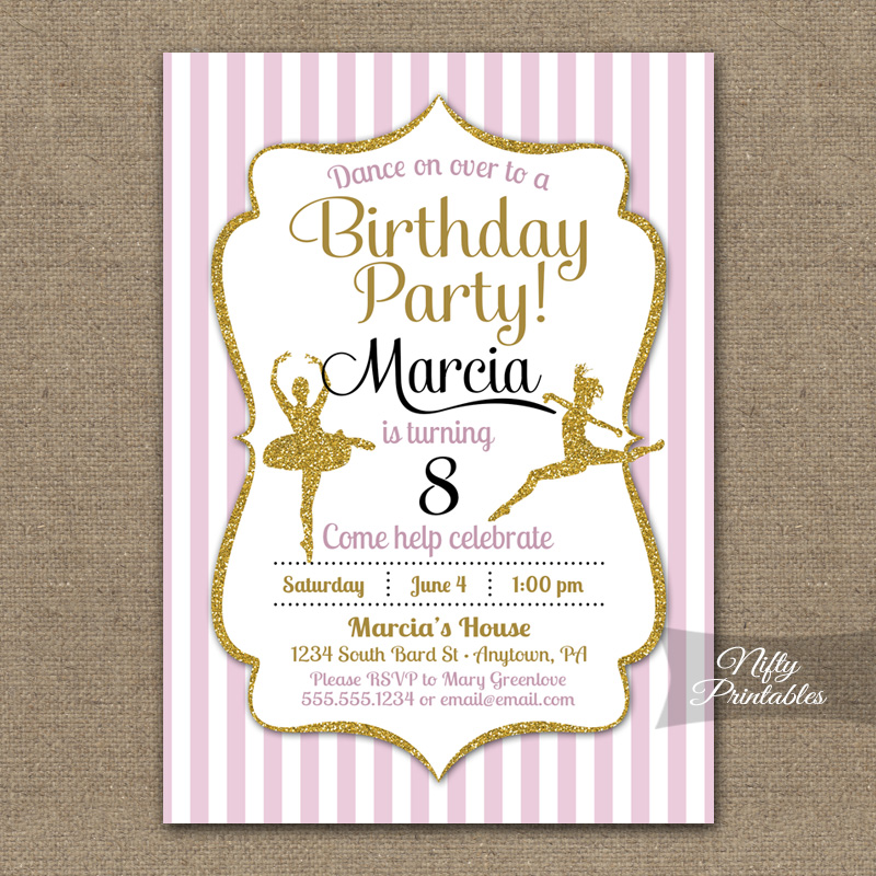 Ballet Dancing Birthday Invitations