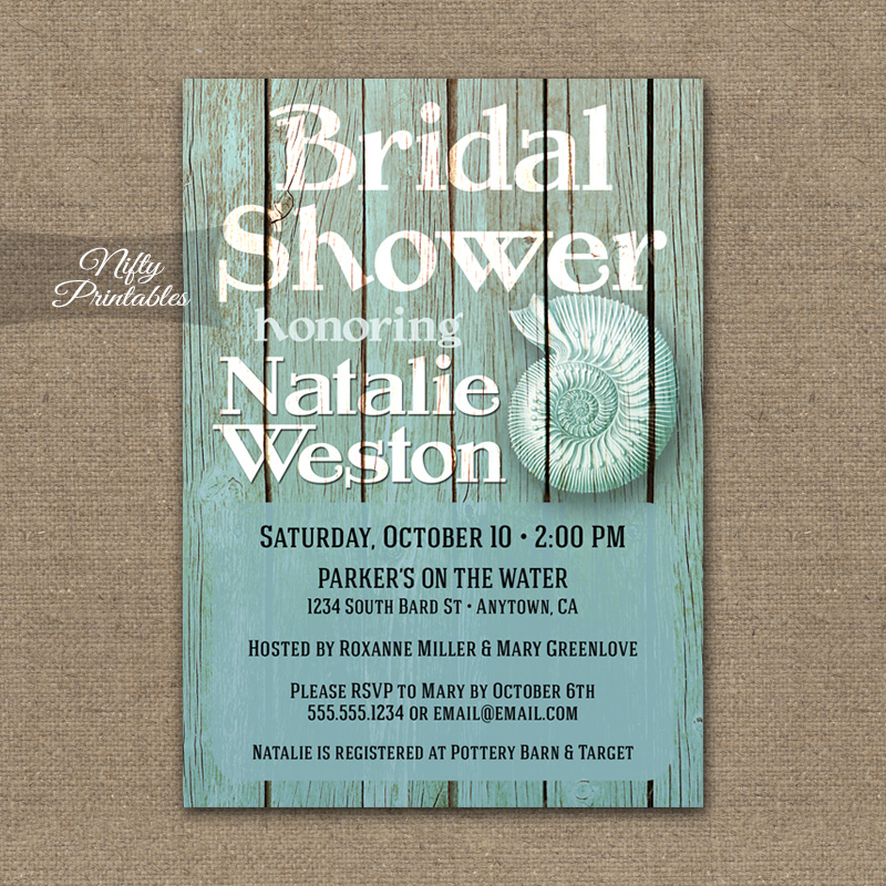 Beach Wood Nautical Bridal Shower Invitations