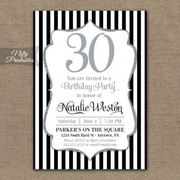 Black Silver Glitter Birthday Invitations