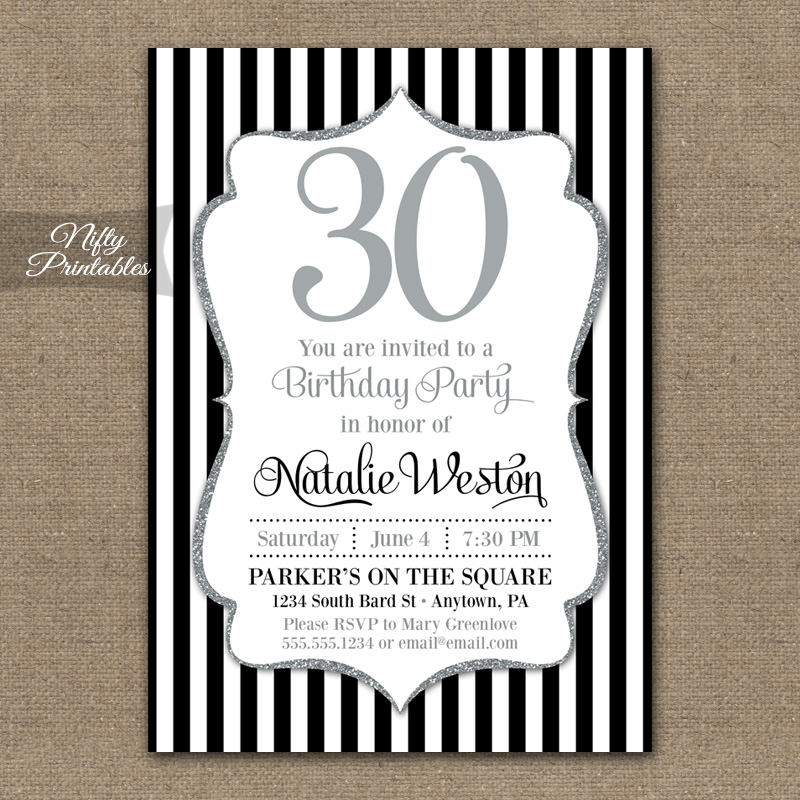 Black Silver Glitter Birthday Invitations