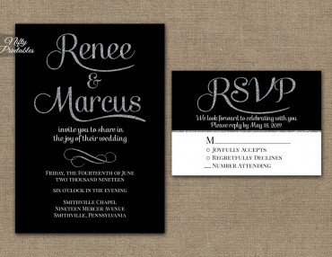 Black Silver Wedding Invitations