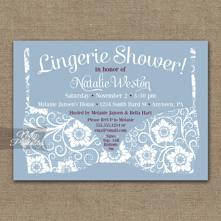 Blue Lace Lingerie Bridal Shower Invitations
