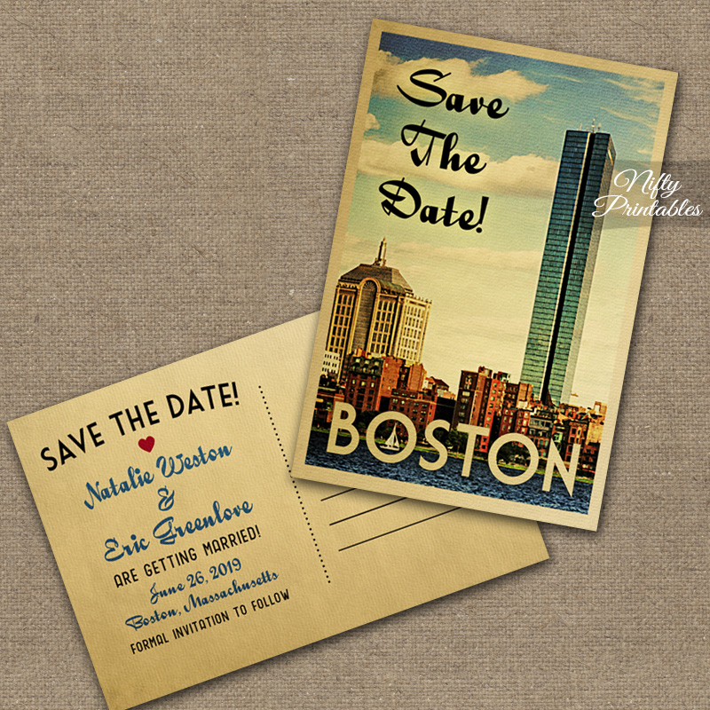 Boston Save The Date Postcards VTW