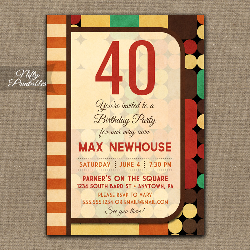 Retro Geometric Birthday Invitations