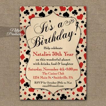 Vintage Casino Birthday Invitations