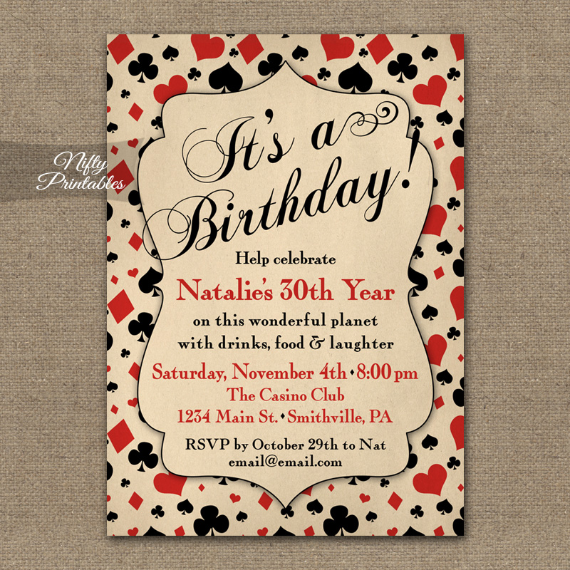 Vintage Casino Birthday Invitations Nifty Printables