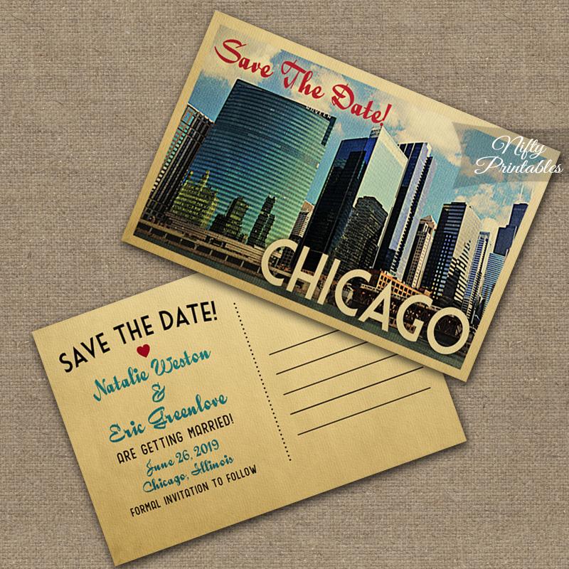 vintage save the dates cool destination wedding postcards