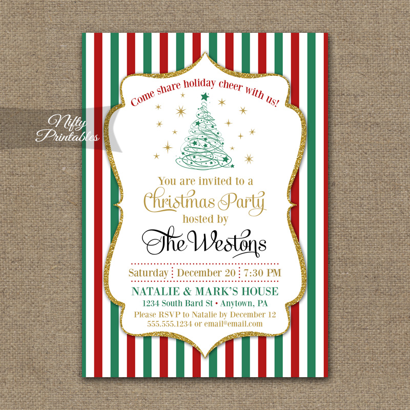 Christmas Party Glitter Invitations