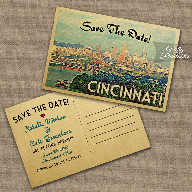 Cincinnati Ohio Save The Date Postcards VTW