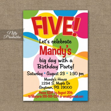 Colorful Dots Birthday Invitations