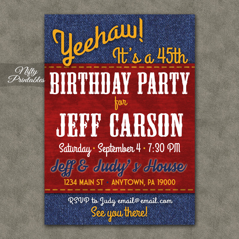 Blue Denim Birthday Invitations