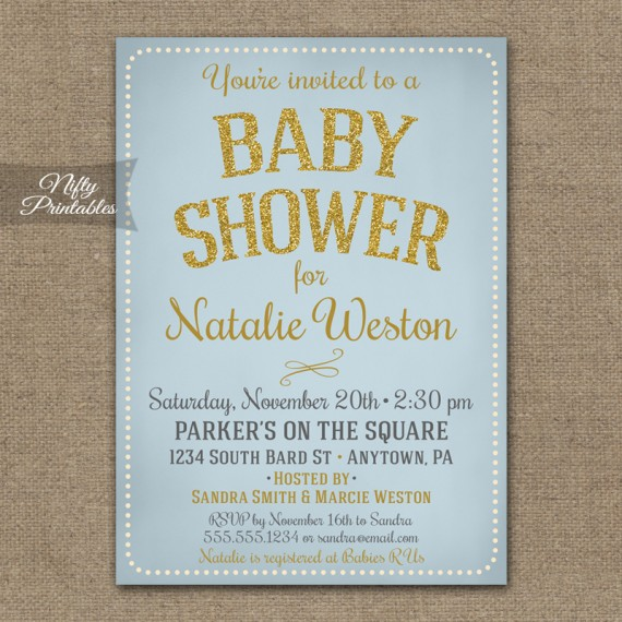Blue Gold Boy Baby Shower Invitations