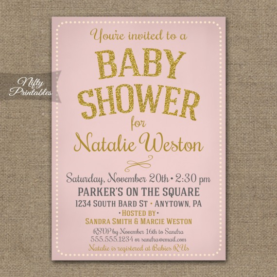 Pink Gold Girl Baby Shower Invitations