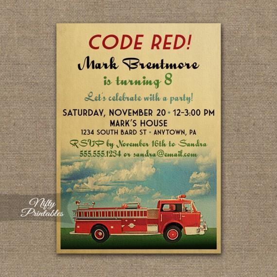 Fire Truck Birthday Invitations