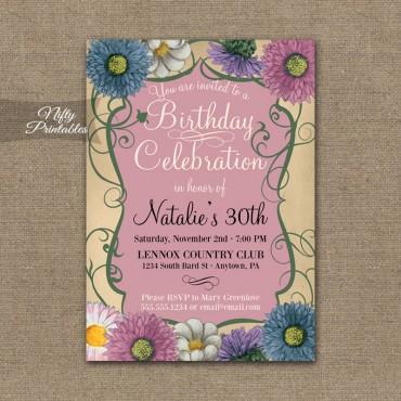 Pink Floral Swirl Birthday Invitations