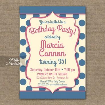 Blue Cream Polka Dots Birthday Invitations