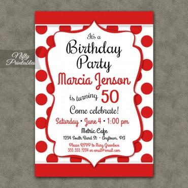 Fun Red White Birthday Invitations