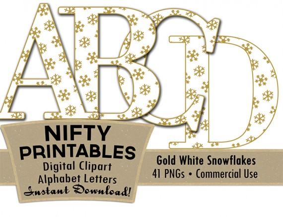 Gold Snowflakes Christmas Alphabet
