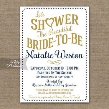 White Navy Bridal Shower Invitations