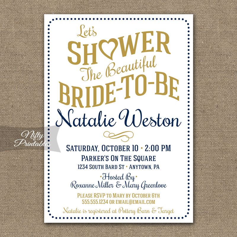 White Navy Bridal Shower Invitations
