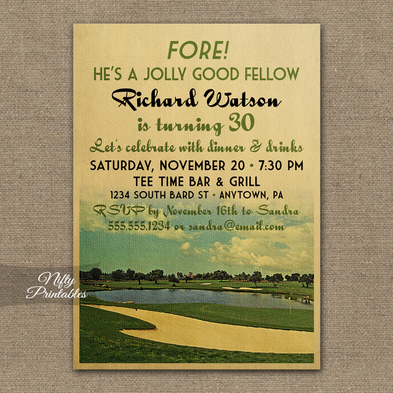 Vintage Golf Birthday Invitations