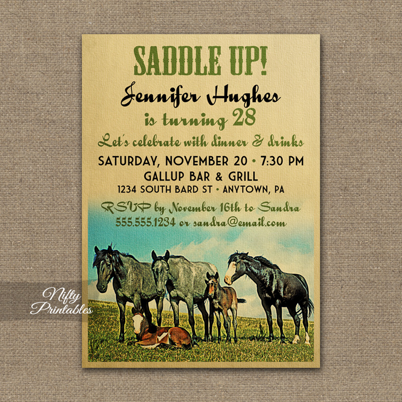 Horses Vintage Birthday Invitations