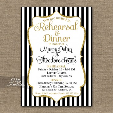 Black Gold Wedding Rehearsal Dinner Invitations