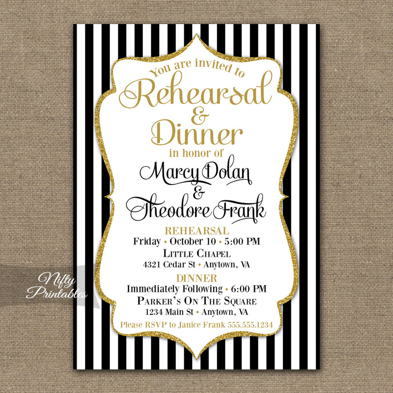 Black Gold Wedding Rehearsal Dinner Invitations