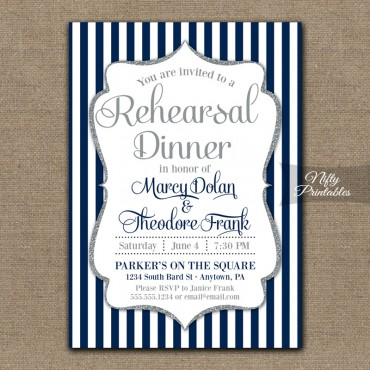 Navy Blue Silver Wedding Rehearsal Dinner Invitations