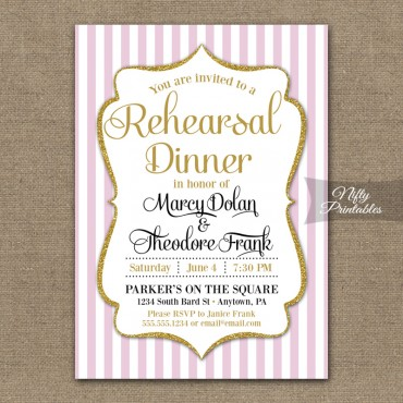 Pink Gold Wedding Rehearsal Dinner Invitations