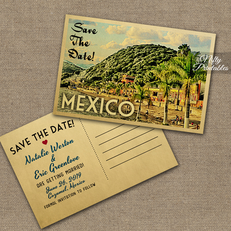 Mexico Save The Date Postcards VTW
