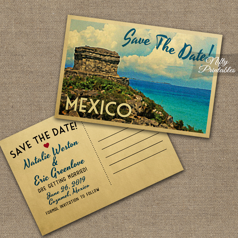 Tulum Mexico Save The Date Postcards VTW