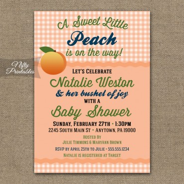 Peach Gender Neutral Shower Invitations