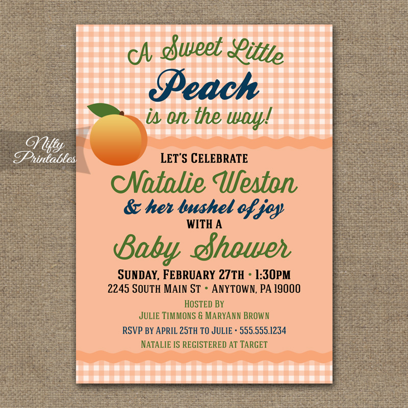 Peach Gender Neutral Shower Invitations