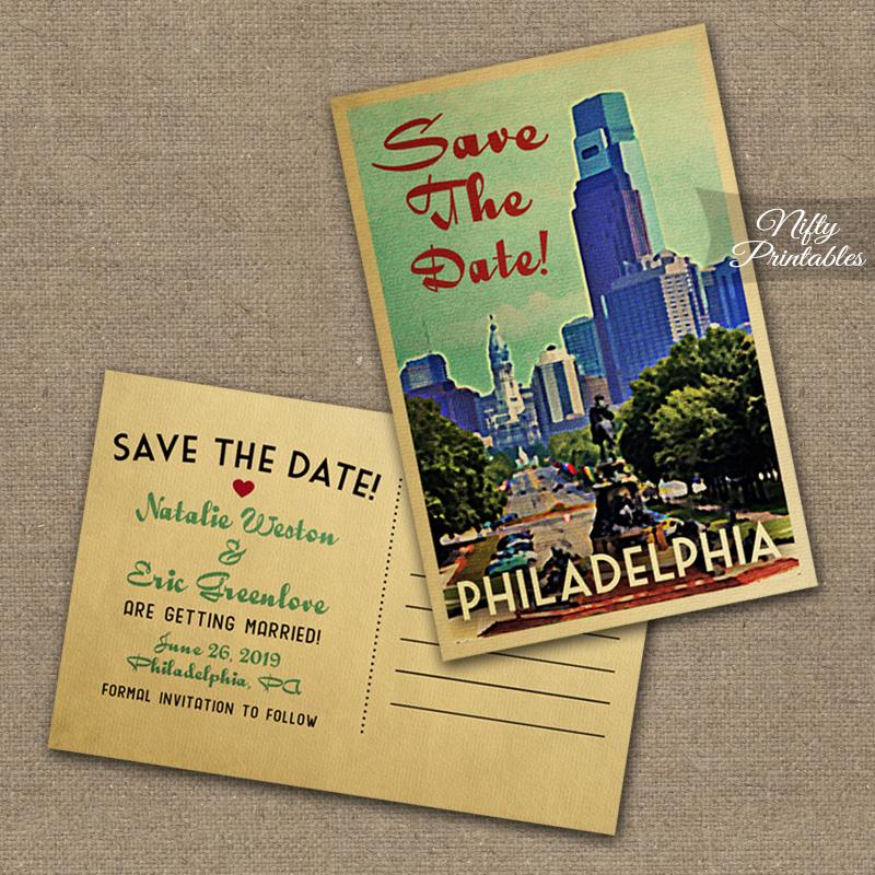 Philadelphia Save The Date Postcards VTW