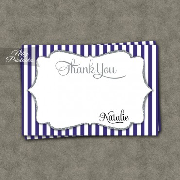 Purple Silver Stripe Birthday Invitations