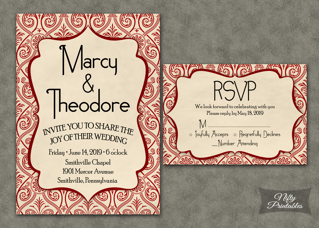 Red Damask Deco Wedding Invitations