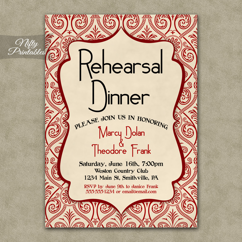 Red Cream Damask Rehearsal Dinner Invitations