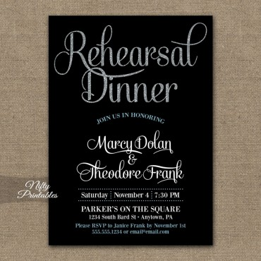 Black Silver Glitter Rehearsal Dinner Invitations