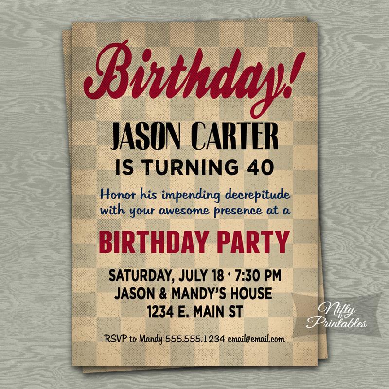 Retro Checkerboard Birthday Invitations