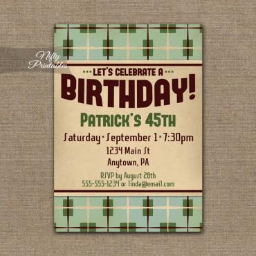 Retro Plaid Birthday Invitations
