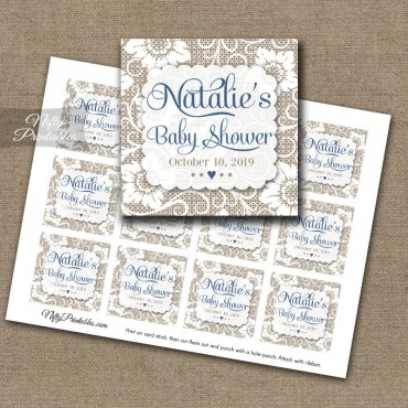 Personalized Favor Tags Lace Blue