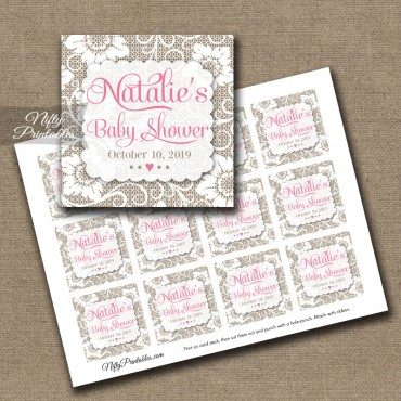 Personalized Favor Tags Lace Pink