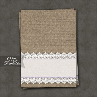 Burlap Lace Blank Place Cards or Tent Cards