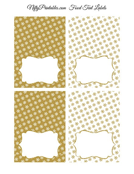 Gold Snowflake Holiday Place Cards or Tent Cards