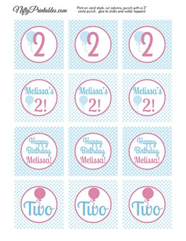 Personalized Childs Birthday Cupcake Toppers - Polka Dot Balloons